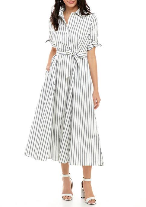 Calvin Klein Womens Short Sleeve Cotton Midi Shirt