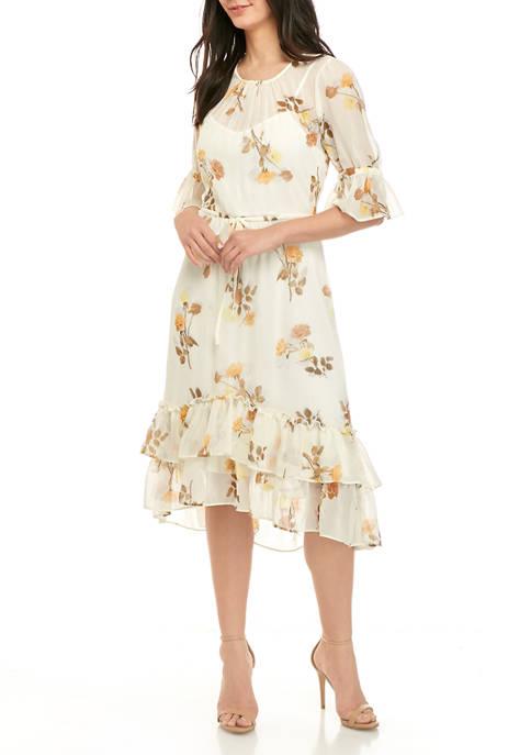 Calvin Klein Womens Chiffon Ruffle Hem Midi Dress