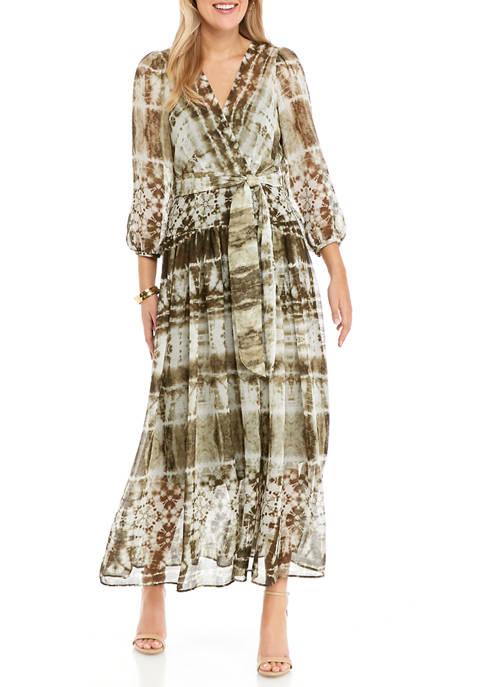 Womens Long Sleeve Chiffon Tie Dye Maxi Dress