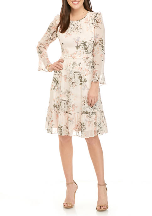 Calvin Klein Womens Long Sleeve Ruffle Hem Chiffon