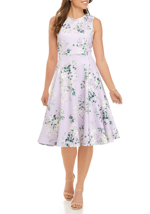 Womens Sleeveless Scuba Printed A Line Dress