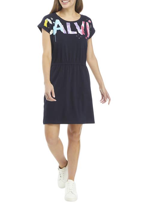 Calvin Klein Watercolor Logo Graphic T-Shirt Dress