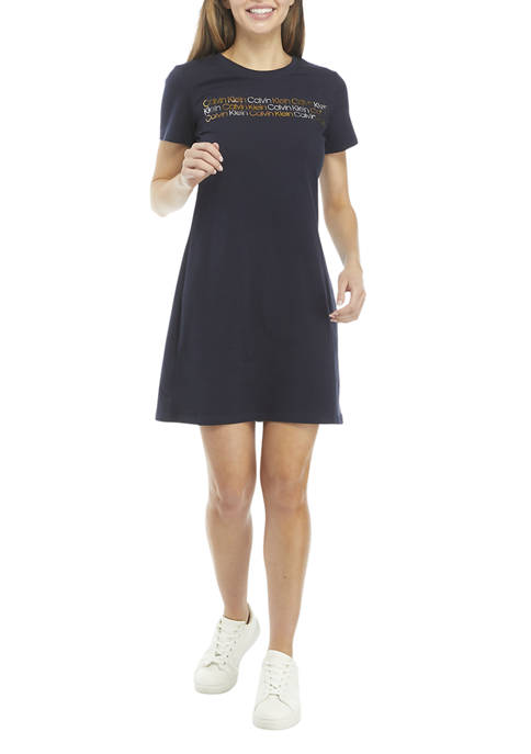 Calvin Klein Multicolor Logo Graphic T-Shirt Dress
