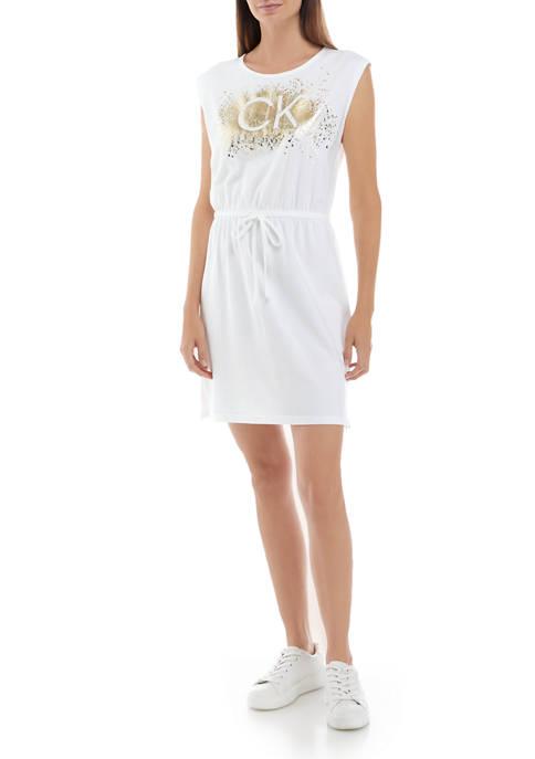 Calvin Klein Womens Sleeveless Glitter Logo T-Shirt Dress