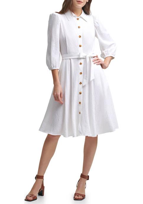 Calvin Klein Blouson Sleeve Gauze Midi Shirtdress