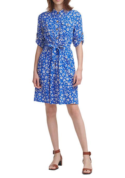 Calvin Klein Short Sleeve Floral Challis Shirtdress