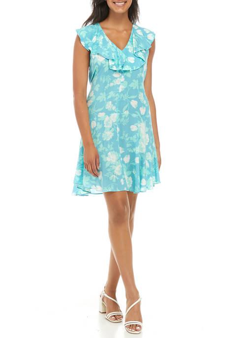 Calvin Klein Womens Sleeveless Floral Challis Ruffle Hem