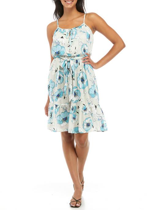 Calvin Klein Womens Sleeveless Floral Challis Flounce Hem