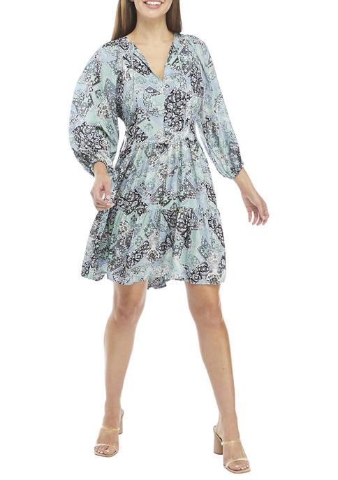 Calvin Klein Blouson Sleeve Paisley Print Tier Dress