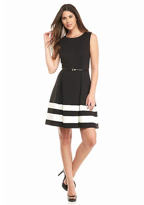 Calvin Klein Colorblock Fit And Flare Dress Belk