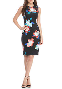Floral Printed Scuba Sheath Dress