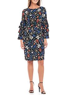 Long Ruffle Sleeve Floral Jersey Dress