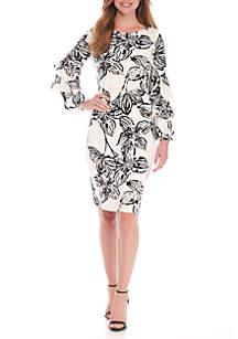 Three-Quarter Ruffle Sleeve Printed Sheath Dress