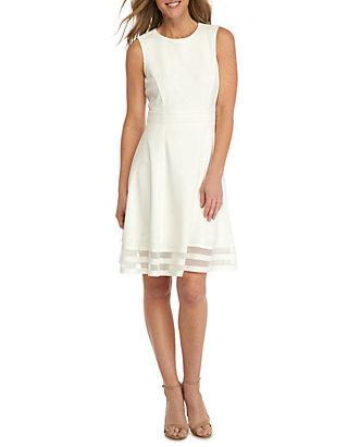 Fit And Flare Shadow Stripe Hem Dress