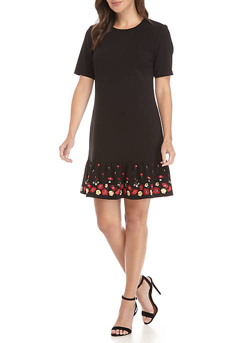 Calvin Klein Short Sleeve Embroidered Hem Scuba Fit-And-Flare