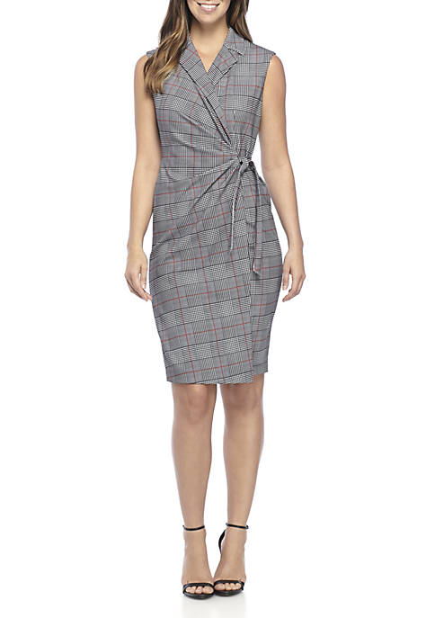 Calvin Klein Sleeveless Notch Collar Plaid Surplice Dress
