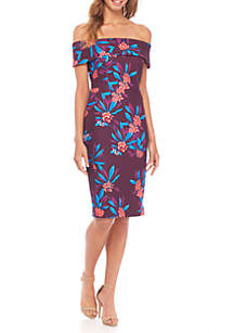Off-Shoulder Printed Scuba Sheath Dress