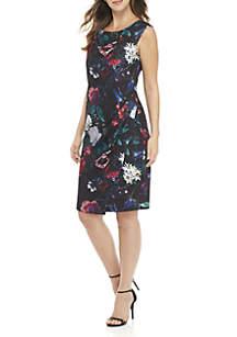 Cap Sleeve Floral Crepe Dress