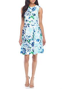 Sleeveless Floral Print Midi Dress