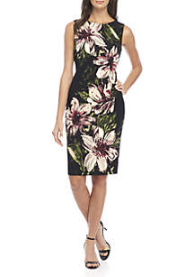 Sleeveless Scuba Crepe Sheath Dress