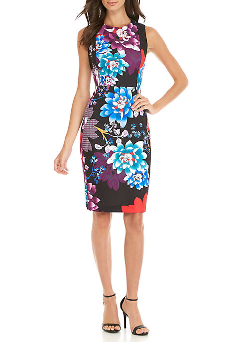 Calvin Klein Sleeveless Printed Scuba Shift Dress