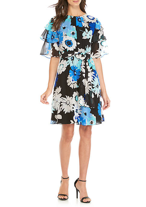 Calvin Klein Ruffle Sleeve Floral Chiffon Dress With