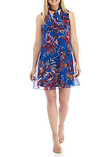 Sleeveless Printed Tie Neck Chiffon Dress
