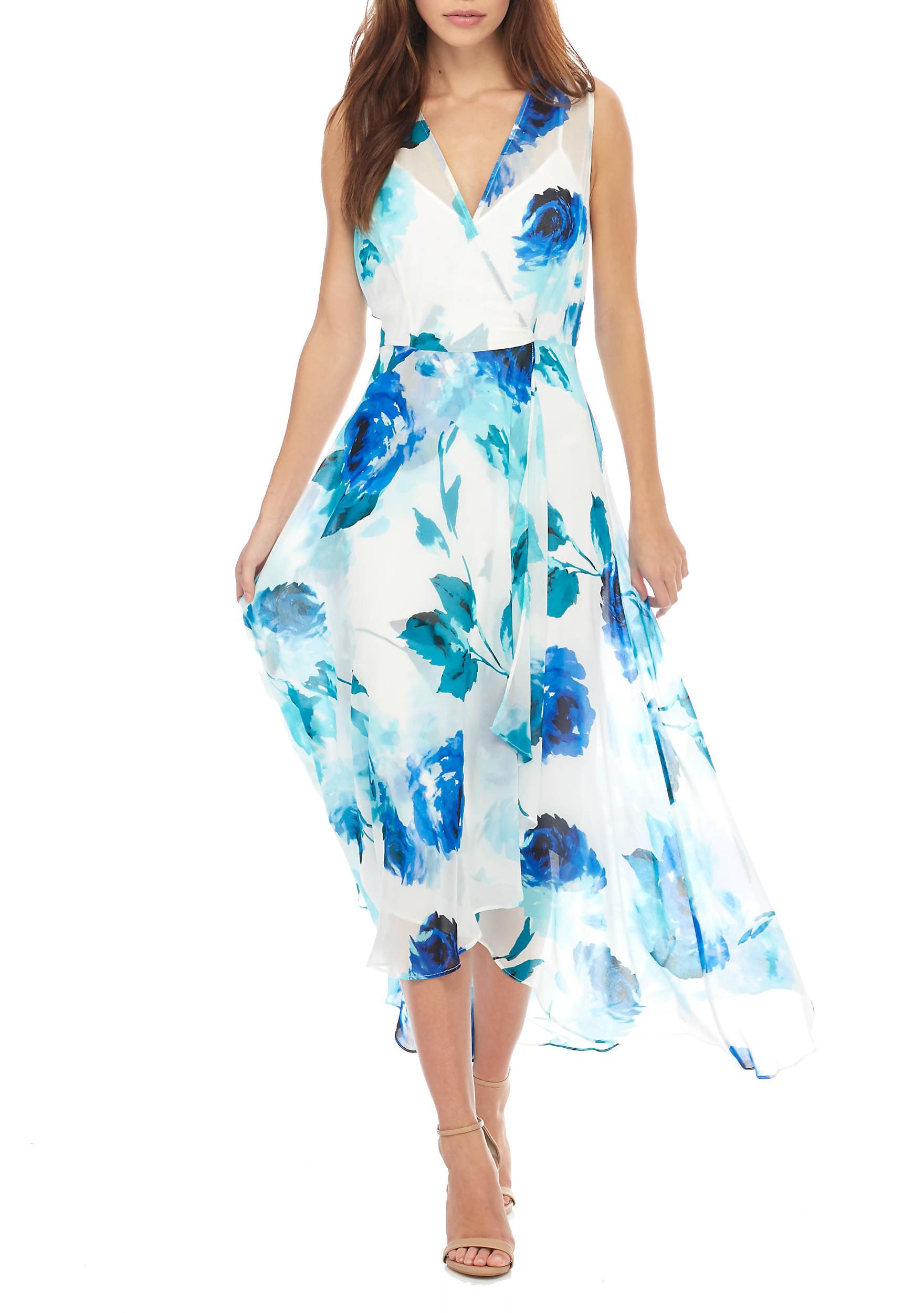 Calvin Klein Floral V-Neck Chiffon Maxi Dress | belk