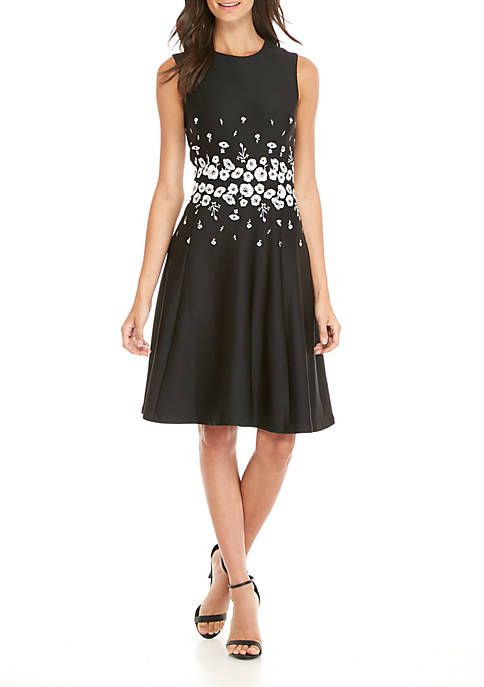 Calvin Klein Sleeveless Embroidered Scuba Fit-And-Flare Dress