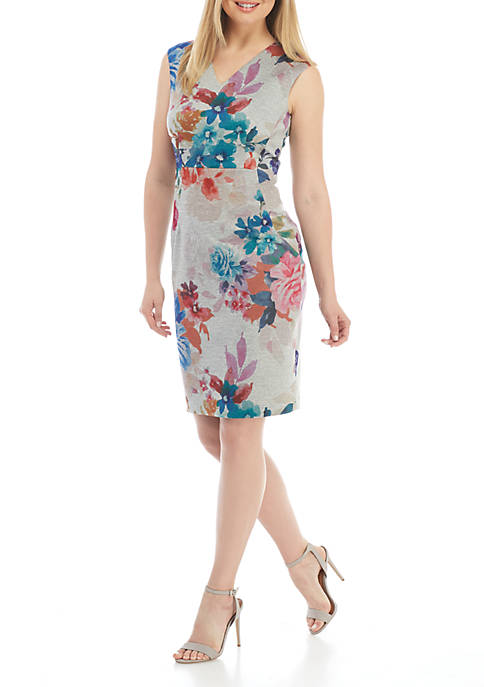 Calvin Klein Cap Sleeve Printed V-Neck Scuba Dress