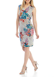 Cap Sleeve Printed V-Neck Scuba Dress