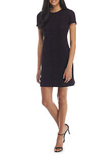 Short Sleeve A-Line Ponte Dress
