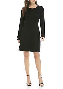 Long Ruffle Sleeve Sweater Dress