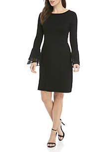 Long Tiered Ruffle Sleeve Sweater Dress