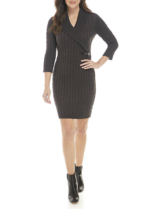 Calvin Klein Wide Collar Cable Knit Sweater Dress