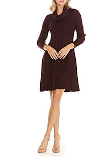 Long Sleeve Cowl Neck Fit-and-Flare Sweater Dress