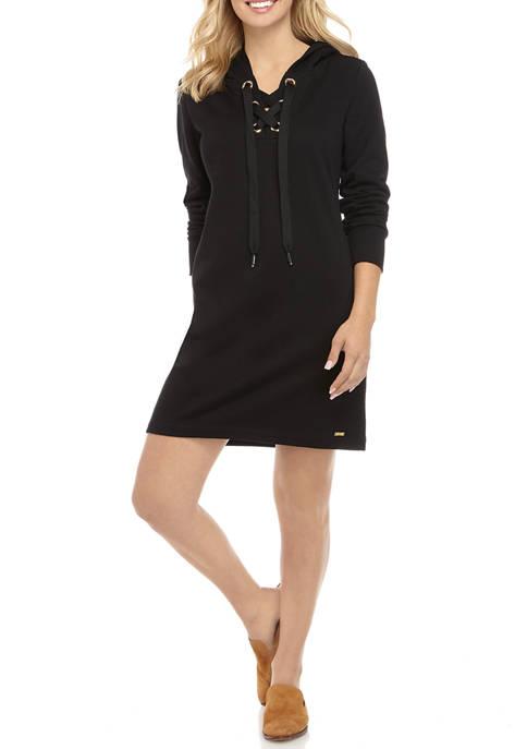 Calvin Klein Womens Lace Up Grommet Sweatshirt Dress