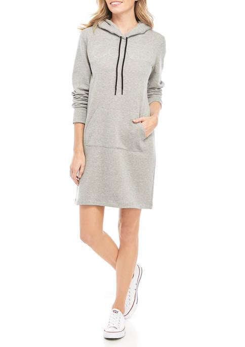 Calvin Klein Womens Logo Front Pocket Sweatshirt Dress