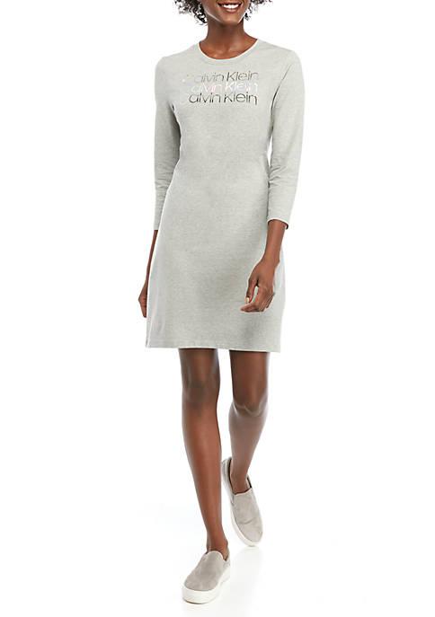 Calvin Klein 3/4 Sleeve Metallic Foil T-Shirt Dress