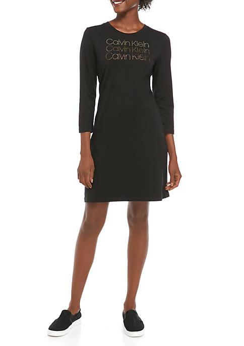 Calvin Klein 3/4 Sleeve Rhinestone T-Shirt Dress