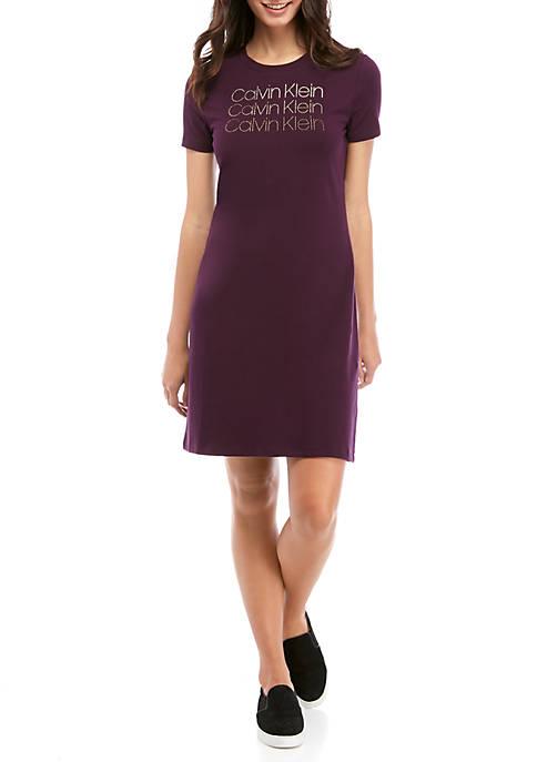 Calvin Klein Womens Short Sleeve Rhinestone Logo T-Shirt