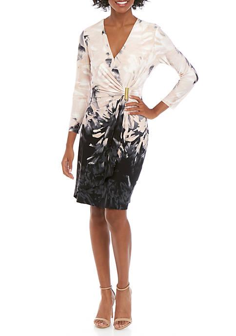 Calvin Klein 3/4 Sleeve Wrap Printed Dress