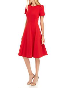 Calvin Klein Short Sleeve Scuba Crepe Solid A Line Dress