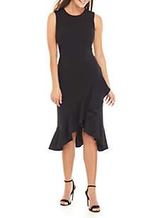 Calvin Klein Sleeveless Scuba Crepe Ruffle Hem Dress
