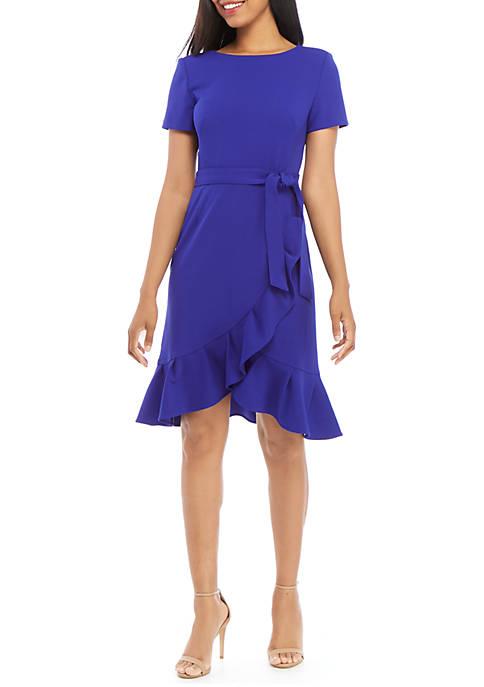 Calvin Klein Short Sleeve Crepe Flounce Hem Belted
