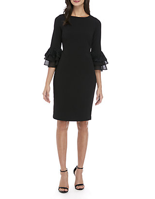 be4cbbce6f6af Calvin Klein. Calvin Klein 3 4 Bell Sleeve Lace Chiffon Sheath Dress