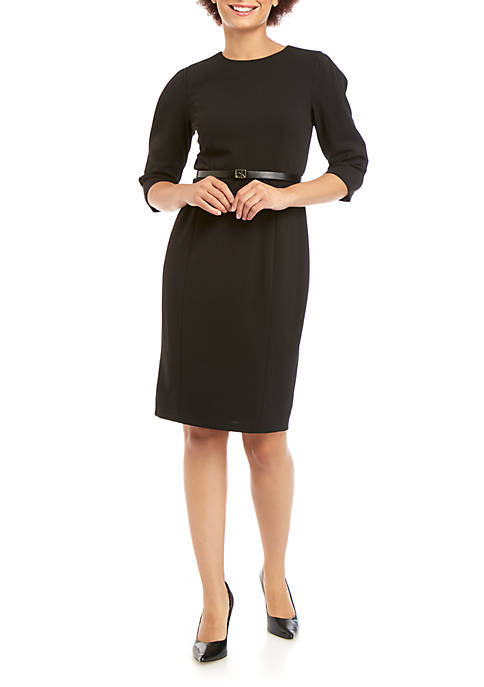 Calvin Klein 3/4 Sleeve Belted Scuba Sheath Dress