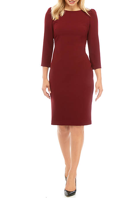 Calvin Klein 3/4 Sleeve Scuba Crepe Sheath Dress