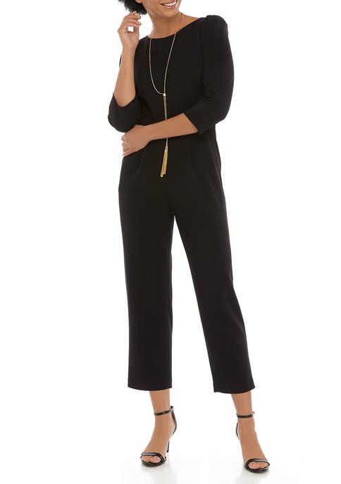 Calvin Klein 3/4 Sleeve Cropped Scuba Crepe Jumpsuit