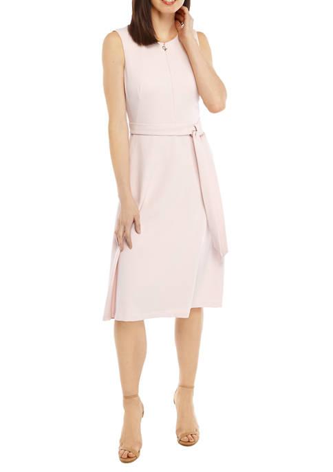 Calvin Klein Womens Sleeveless Sheath Midi Dress